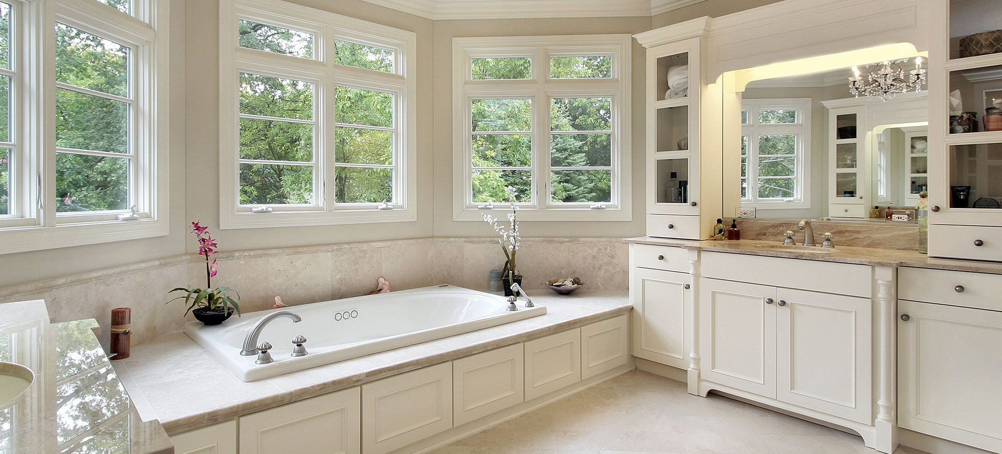 Classic bathroom with white cabinets